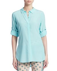 DKNY | Blue Silk Button Down Blouse | Lyst
