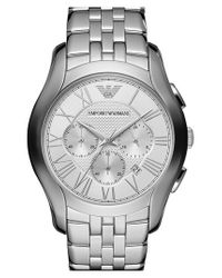 Emporio Armani - Metallic Round Chronograph Bracelet Watch for Men - Lyst