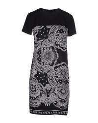 DKNY | Black Fringed Crepe And Mesh Midi Dress | Lyst