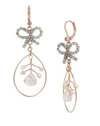 Betsey Johnson Pink Ballerina Rose Bow Orbital Drop Earrings