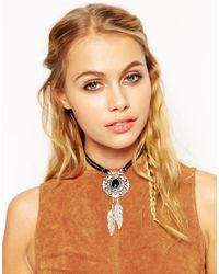 ASOS - Black Stone & Feather Bolo Choker Necklace - Lyst