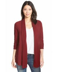 Lucky Brand | Red Cable Texture Open Front Cardigan | Lyst