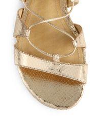Schutz Brown Erlina Metallic Leather Gladiator Sandals