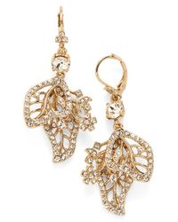 Marchesa - Metallic Crystal Leaf Drop Earrings - Lyst