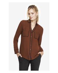 Express Brown Contrast Piping Portofino Shirt