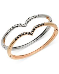 Guess - Pink Two-tone Crystal Stone Bracelet Duo - Lyst