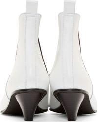 Comme des Garçons - White Leather Kitten Heel Chelsea Boots - Lyst