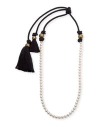 Lanvin | Metallic Long Pearly Necklace With Tassel Ends | Lyst