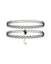 TOPSHOP | Black Yin Yang Charm Tattoo Chokers | Lyst