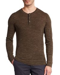 Vince - Brown Wool & Linen Henley Tee for Men - Lyst