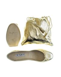 Black.co.uk Metallic Gold Foldable Leather Ballet Flats