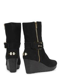 Michael Kors Black Lizzie Shearling Lined Suede Boots