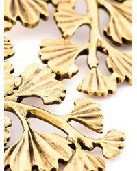 Oscar de la Renta Metallic Golden Wavy Leaf Necklace