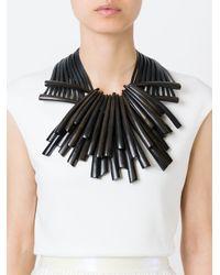 Monies Black Wooden Shard Necklace