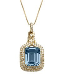 Lord & Taylor | Metallic 14k Yellow Gold Blue Topaz And Diamond Pendant Necklace | Lyst
