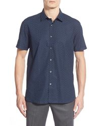 Ted Baker - Blue 'tarmack' Extra Trim Fit Short Sleeve Circle Print Sport Shirt for Men - Lyst