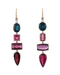 Irene Neuwirth | Green Mixed-gemstone Long Drop Earrings | Lyst