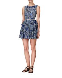 Cynthia Rowley Blue Jaquard Peplum Fit And Flare Dress