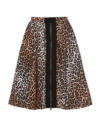 Elizabeth and James Multicolor Belle Leopard-print Sateen-twill Skirt