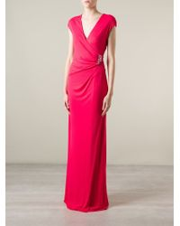 Roberto Cavalli Pink Snake Brooch Detailed Dress