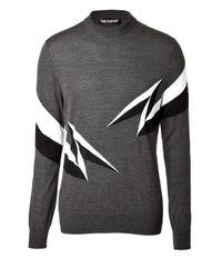 Neil Barrett - Gray Graphic Print Merino Sweater for Men - Lyst
