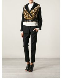 David Szeto - Black Leopard Panel Cropped Jacket - Lyst