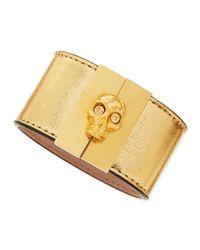 Alexander McQueen | Metallic Skull-clasp Leather Cuff | Lyst