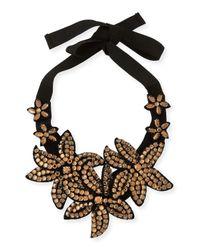 Marina Rinaldi | Black Livia Beaded Flower Necklace | Lyst