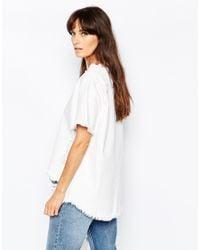 WÅVEN | White Denim T-shirt With Distressed Rip & Repair | Lyst