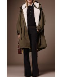 Burberry - Green Oversized Shearling Parka - Lyst