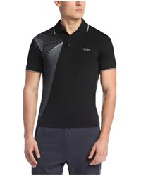 BOSS Green Black 'pleecell' | Slim Fit, Stretch Cotton Blend Polo Shirt for men