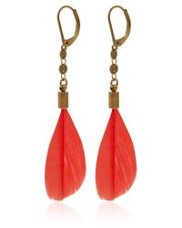 Isabel Marant Red Raya Feather Earrings
