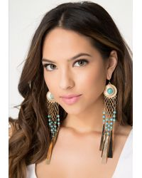 Bebe - Blue Bead & Fringe Earrings - Lyst