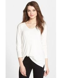 NYDJ - White Pintuck Yoke V-Neck Knit Top - Lyst
