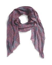 Echo - Textural Flower Print Wrap - Purple - Lyst