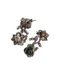 Wendy Yue Multicolor Tsavorite Flower Earrings