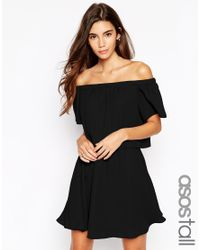 ASOS | Black Gypsy Off Shoulder Dress With Short Sleeves | Lyst