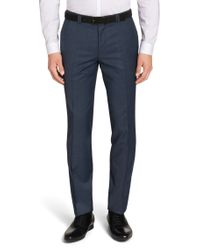 HUGO Blue Extra-slim-fit Trousers In New-wool Blend: 'heibo3' for men