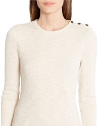Lauren by Ralph Lauren | Natural Ribbed Stretch-cotton Tee | Lyst