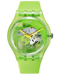 Swatch - Unisex Swiss Pomme-tech Green & Yellow Double-layered Silicone Strap Watch 41mm Suog110 - Lyst