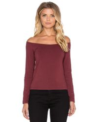 Monrow - Purple Retro Long Sleeve Off The Shoulder Top - Lyst