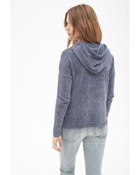 Forever 21 - Blue Chenille Drawstring Hoodie - Lyst