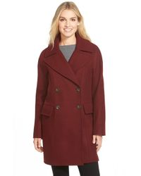Vince Camuto Purple Double Breasted Peacoat