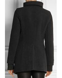 Helmut Lang Black Leather-Trimmed Wool-Blend Coat