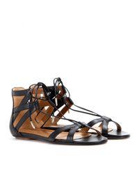 Aquazzura Black Beverly Hills Leather Sandals