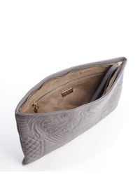 Nada Sawaya - Gray Stone Quilted Leather Oversized 'Gigi' Clutch - Lyst