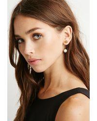 Forever 21 Metallic Amber Sceats Faux Pearl Bar Earring
