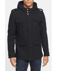Black Rivet Black Wool Blend Hooded Military Jacket for men