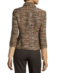 Lafayette 148 New York - Black Orah Tweed Jacket With Leather Detail - Lyst