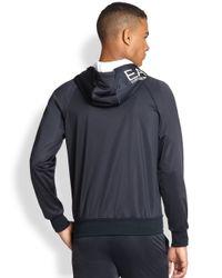 Emporio Armani - Blue Logo Full-Zip Hoodie Jacket for Men - Lyst